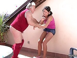 Older man fucking y. woman from behind | cheating family grandpa old man