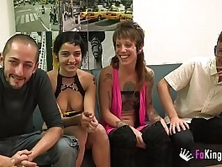Unexperienced couples  first wife swap ends up badly | 4some amateur blowjob couple