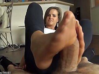 Girlfriend gives nylon footjob to her boyfriend | boyfriend cum cumshots foot