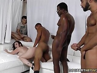 Sara Jay gets ganbanged by black dudes in front of her son | 3some black dude interracial