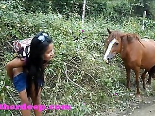 Heather Deep 4 wheeling on scary fast quad and Peeing next to horses in the jungle   peeing