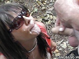 Wife swallows pee and cum from many guys at the highway | cum cum swallow cumshots doggy